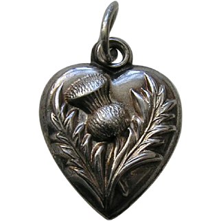 """Antique Thistle """"CEE"""" Sterling Heart Charm"""