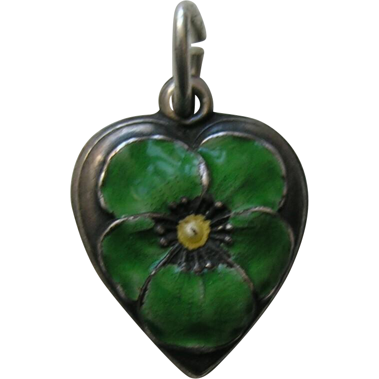 "Vintage Green Enameled Pansy ""Dad"" Sterling Heart Charm"