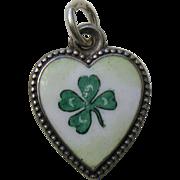 Antique Shamrock Porcelain Sterling Heart Charm