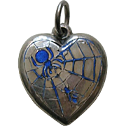 Vintage Blue Enameled Spider and Fly Sterling Heart Charm