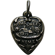 """Vintage Home Sweet Home """"Dad"""" Sterling Heart Charm"""