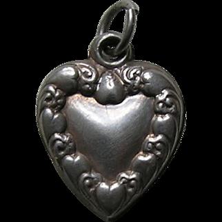 "Antique Heart Border ""Mom"" Sterling Heart Charm"