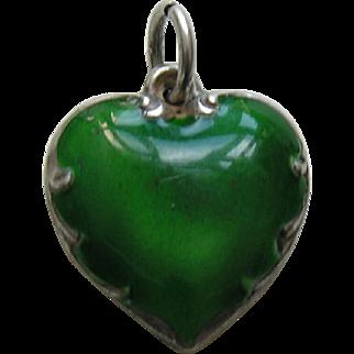 "Vintage Green Enameled ""Wendell"" Sterling Heart Charm"