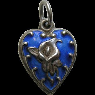 "Vintage Enameled Blue Calla Lily ""Ida"" Sterling Heart Charm"