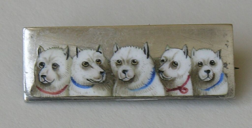 Victorian Enameled Dog Silver Brooch