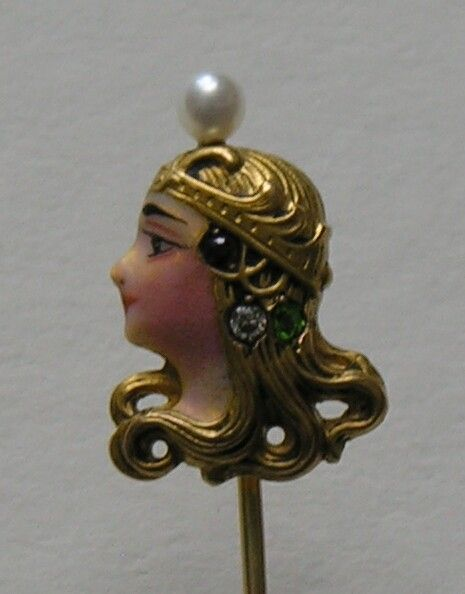Alling Art Nouveau Byzantine Lady Gold Stickpin