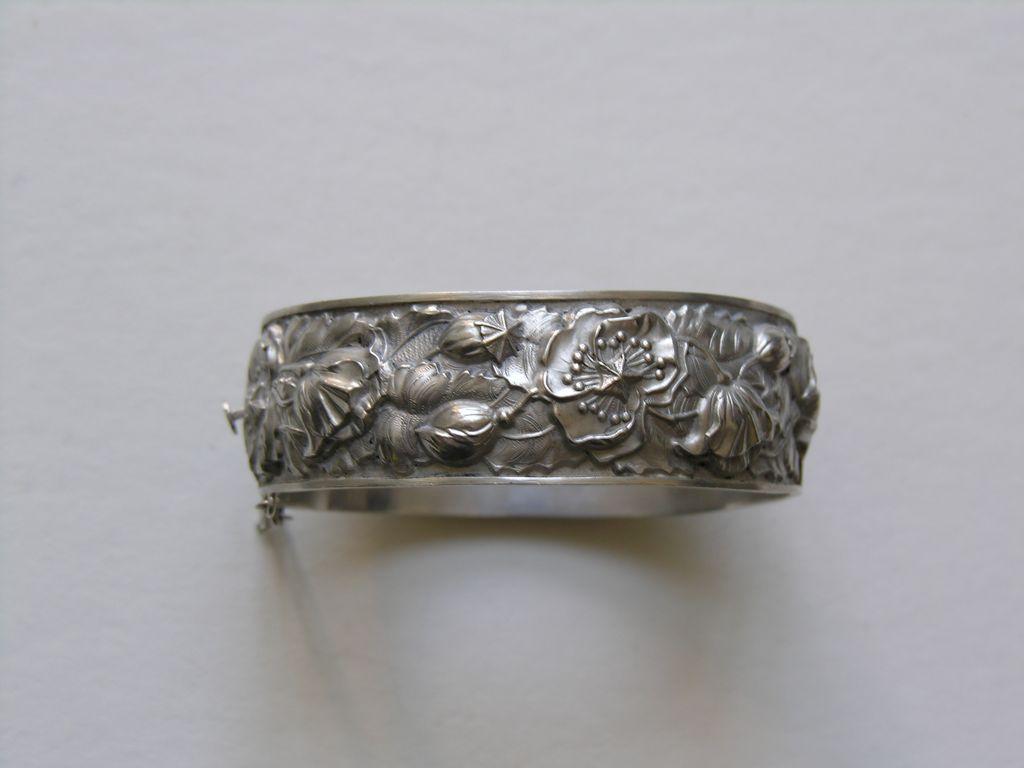 Vintage European Poppy Silver Bracelet