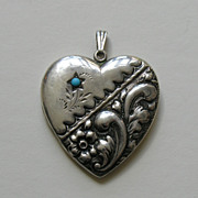 Victorian Turquoise Floral Medium Sterling Locket