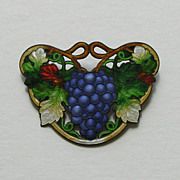 Art Nouveau Enameled Grapes Sterling Brooch