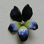 Antique Enameled Violet Diamond 14k Brooch