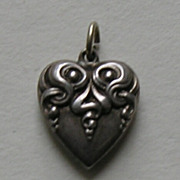 Art Nouveau Sterling Heart Charm