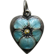 Vintage Enameled Turquoise Pansy Sterling Heart Charm