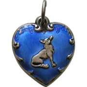 Vintage Blue Enameled Fox and Grapes Sterling Heart Charm