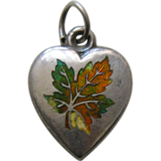 Antique Enameled Maple Leaf Sterling Heart Charm