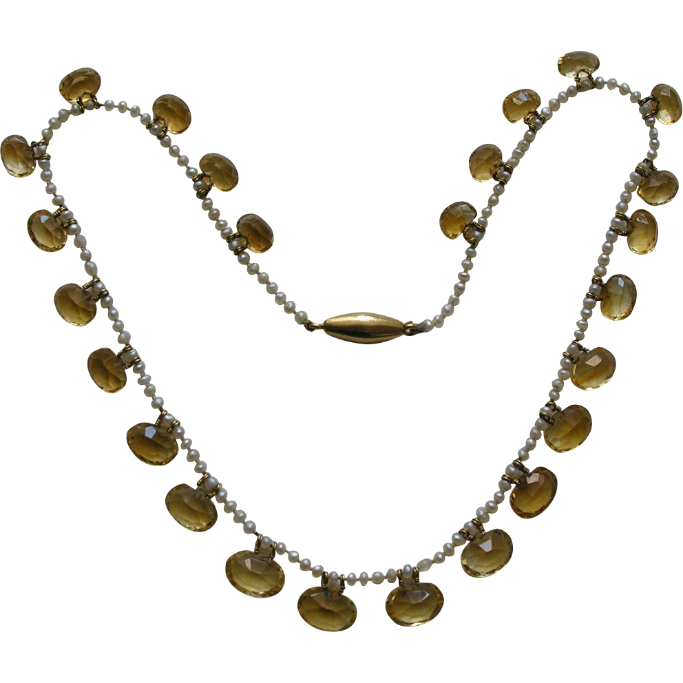 edwardian citrine seed pearl gold necklace from