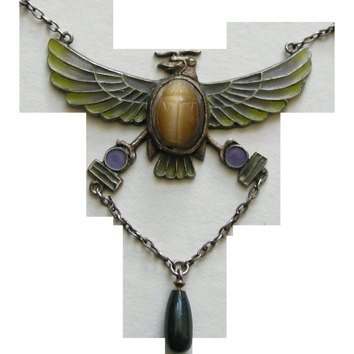 egyptian revival plique 800 silver necklace red robin