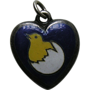 Antique Enameled Chick and Egg Sterling Heart Charm