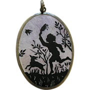 Scandinavian Enameled Child and Dog Large Sterling Pendant
