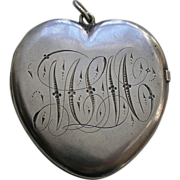 Victorian Medium Large Sterling Heart Locket
