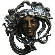 Gorham Art Nouveau Mixed Metal Lady Copper Sterling Buckle Pendant