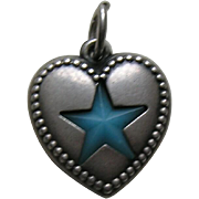 Vintage Turquoise Lone Star Sterling Heart Charm