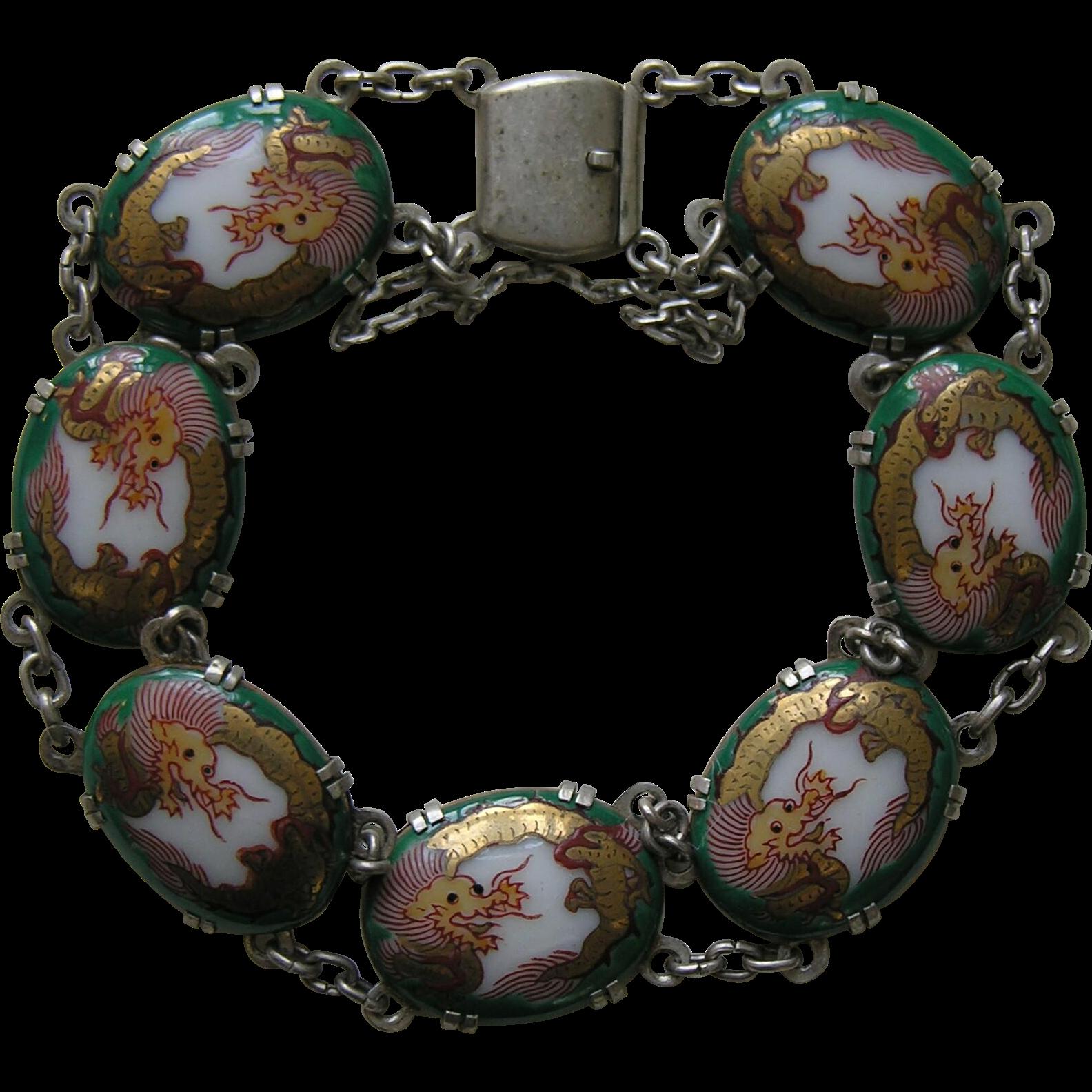 vintage satsuma silver bracelet red robin antiques