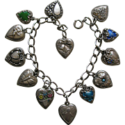 Vintage Thirteen Sterling Heart Bracelet