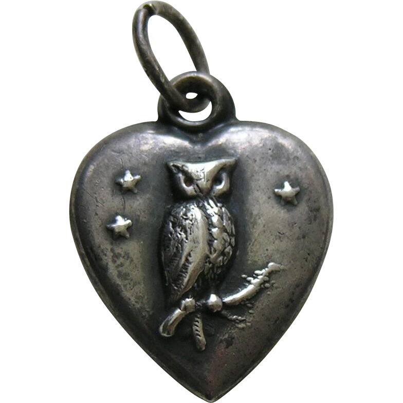 antique owl sterling heart charm red robin antiques