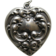 Vintage Extra Large Double Sided Sterling Heart Charm