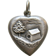 Vintage Dog House Sterling Heart Charm