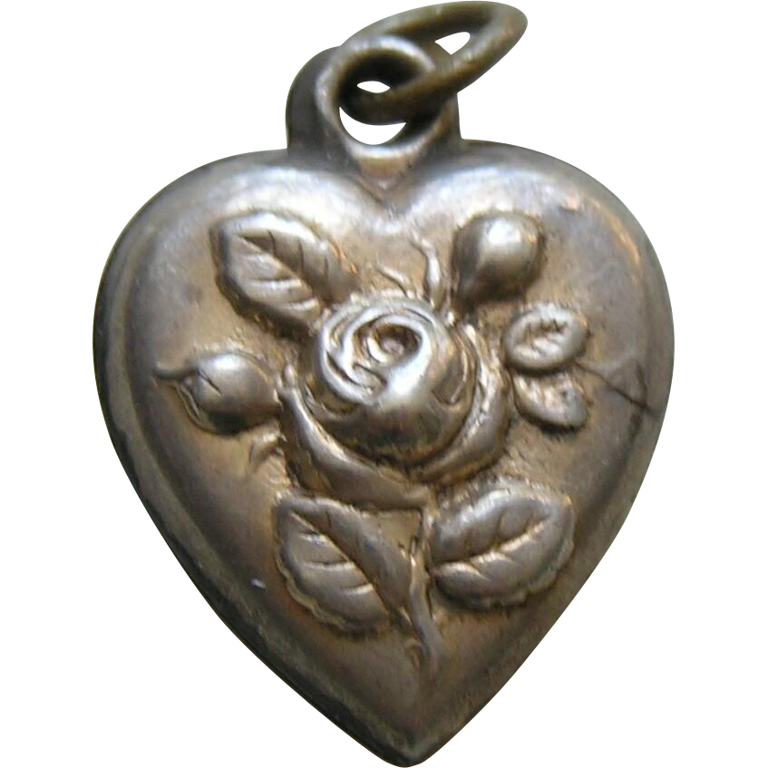 antique rose quotirenequot sterling heart charm red robin