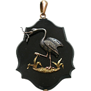 Victorian Heron and Snake Silver Gold Onyx Locket