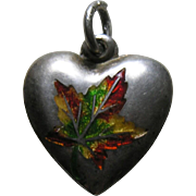 Antique Canadian Enameled Maple Leaf Sterling Heart Charm
