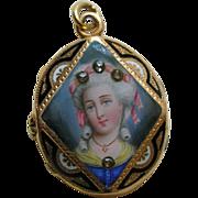 Antique Enameled Lady Diamond Gold Locket