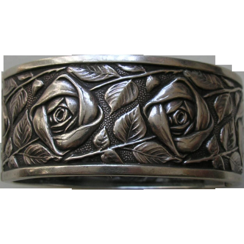 vintage french rose 800 silver bracelet red robin