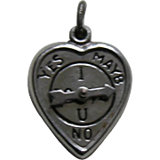 "Vintage ""I Love U"" Spinner Sterling Heart Charm"