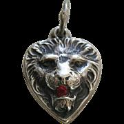 Vintage Lion Garnet Paste Sterling Heart Charm