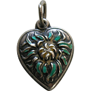 Vintage Enameled Chrysanthemum Sterling Heart Charm