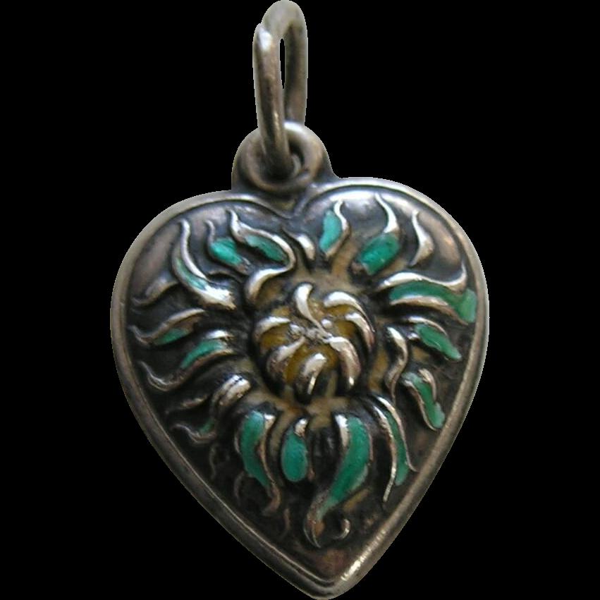 vintage enameled chrysanthemum sterling heart charm red