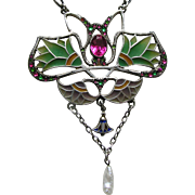 Egyptian Revival Plique Lotus Blossom Paste 800 Silver Necklace