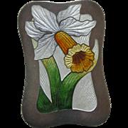 Art Nouveau Shepard Enameled Daffodil Sterling Brooch