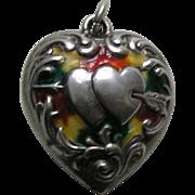 Antique Green Orange Yellow Mottled Enameled Double Heart Arrow Puffy Large Double Sided Sterling Heart