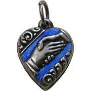 "Vintage Blue Enameled Friendship Handshake ""Lo"" Sterling Heart Charm"