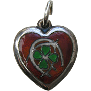 "Vintage Enameled Lucky Symbols ""J.E.F."" Sterling Heart Charm"
