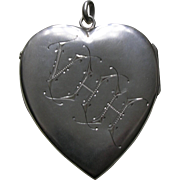 "Victorian Star Moon Punch ""VHH"" Larger Sterling Heart Locket"
