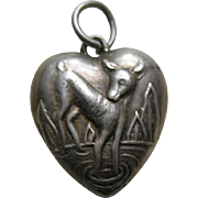 Vintage Deer Sterling Heart Charm