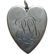 "Victorian ""PLT"" Extra Large Sterling Heart Locket"