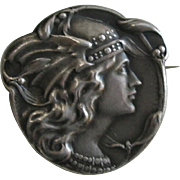 Becker French Art Nouveau Winged Lady Medal-Jewel 800 Silver Brooch