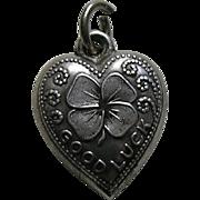 Vintage Good Luck Shamrock Sterling Heart Charm