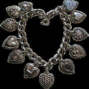 Antique and Vintage Twelve Sterling Heart Bracelet